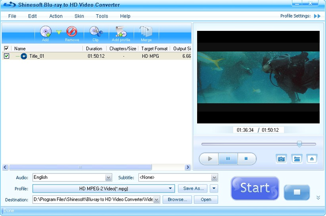 Shinesoft Blu-ray to HD Video Converter Screenshot