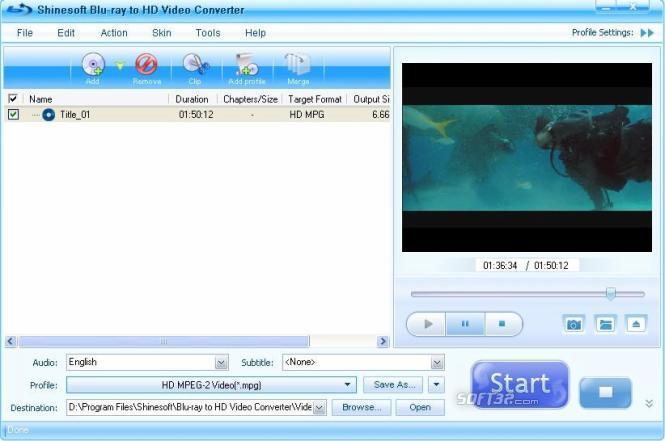 Shinesoft Blu-ray to HD Video Converter Screenshot 3