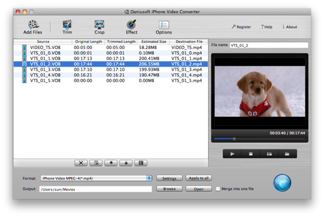 Daniusoft iPhone Video Converter for Mac Screenshot