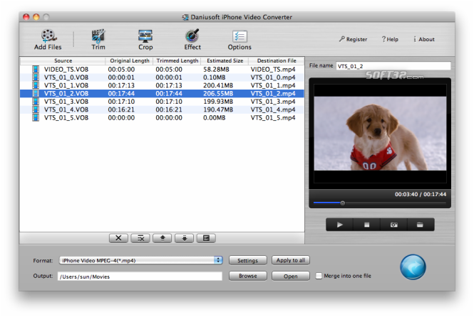 Daniusoft iPhone Video Converter for Mac Screenshot 3