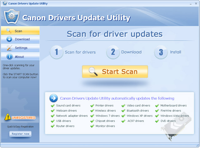 Canon Drivers Update Utility Screenshot
