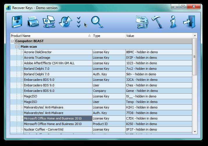 Recover Keys Screenshot 2