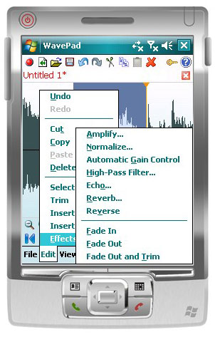 Wavepad Free Audio Editor for Pocket PC Screenshot