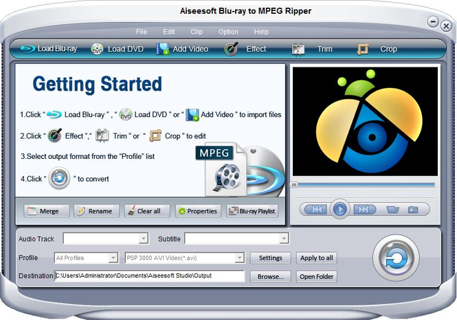 Aiseesoft Blu-ray to MPEG Ripper Screenshot