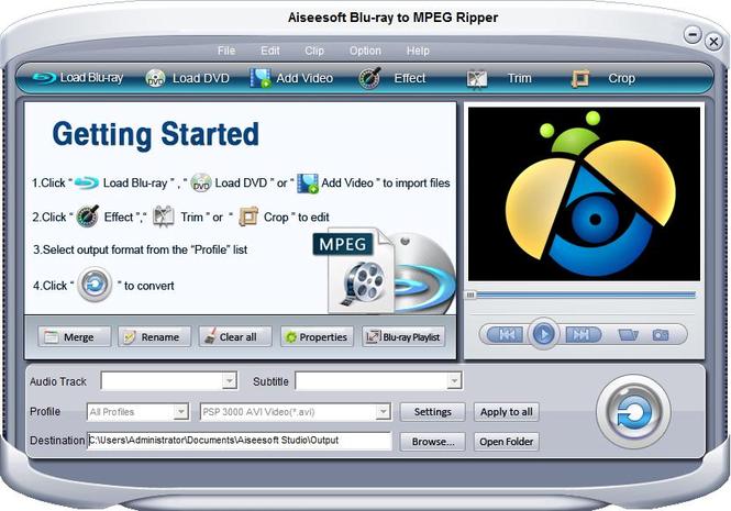 Aiseesoft Blu-ray to MPEG Ripper Screenshot 1