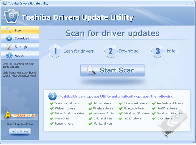 Toshiba Drivers Update Utility Screenshot