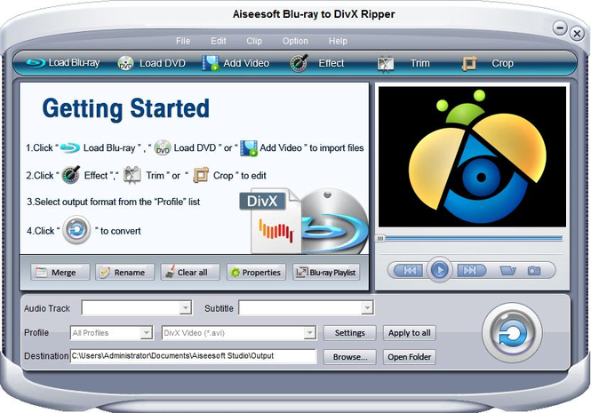 Aiseesoft Blu-ray to DivX Ripper Screenshot 1