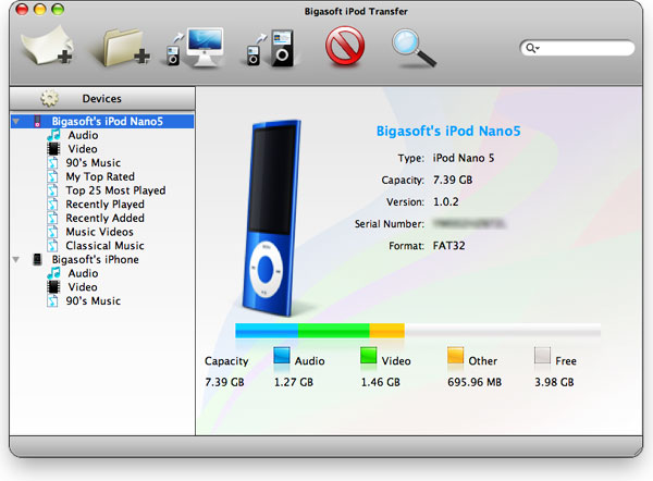 Bigasoft iPod Transfer for Mac Screenshot