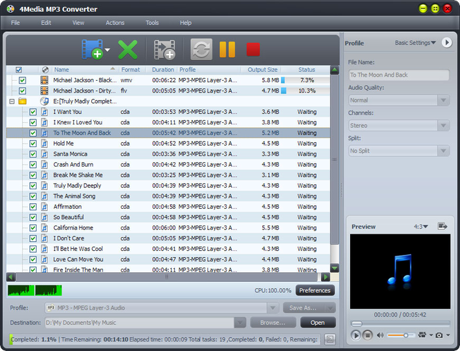 4Media MP3 Converter Screenshot