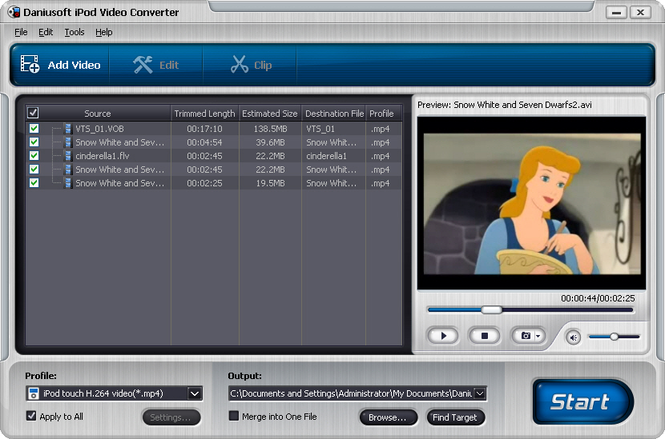 Daniusoft iPod Video Converter Screenshot