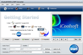 iCoolsoft DVD to 3GP Converter Screenshot 1