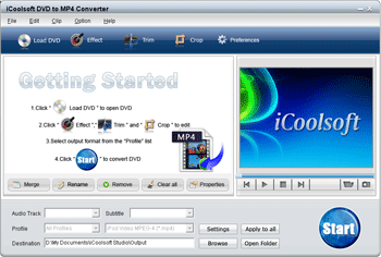 iCoolsoft DVD to MP4 Converter Screenshot
