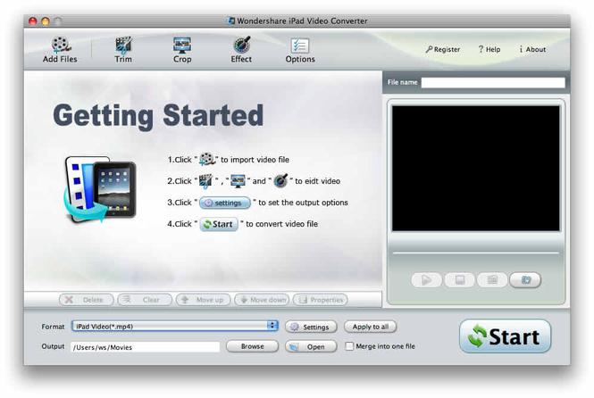 Wondershare iPad Video Converter for Mac Screenshot