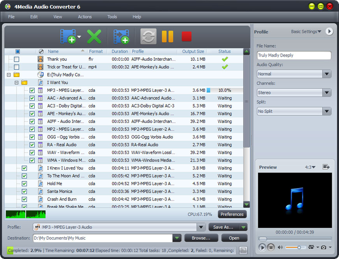 4Media Audio Converter Screenshot 1