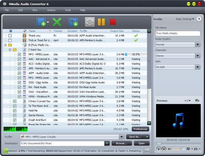 4Media Audio Converter Screenshot