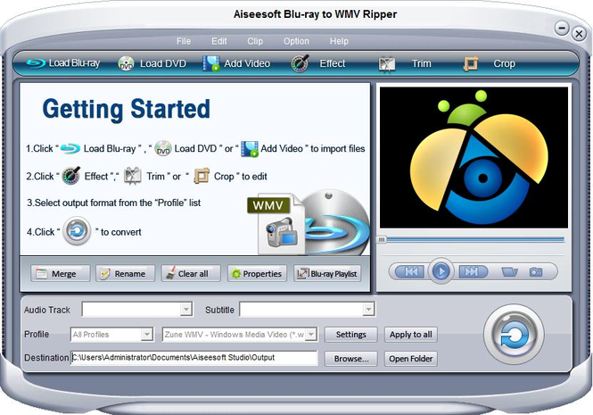 Aiseesoft Blu-ray to WMV Ripper Screenshot