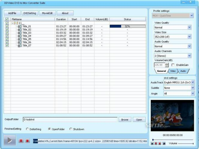 DDVideo DVD to MOV Converter Suite Screenshot 3