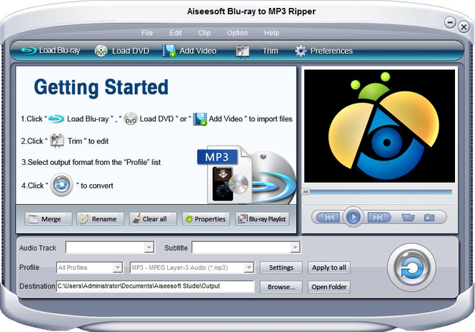 Aiseesoft Blu-ray to MP3 ripper Screenshot