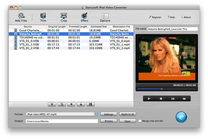 Daniusoft iPod Video Converter for Mac Screenshot 1