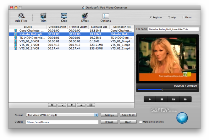 Daniusoft iPod Video Converter for Mac Screenshot 3