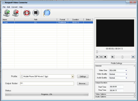 Hongsoft Free Video Converter Screenshot