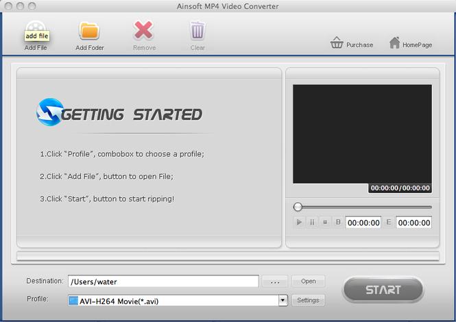 Ainsoft MP4 Video Converter for Mac Screenshot 1