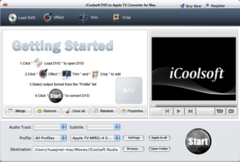 iCoolsoft DVD to Apple TV Converter Mac Screenshot