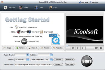 iCoolsoft DVD to MOV Converter for Mac Screenshot
