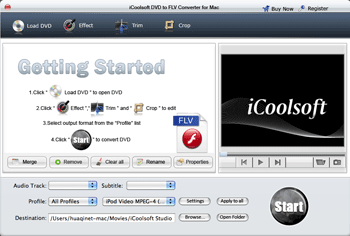 iCoolsoft DVD to FLV Converter for Mac Screenshot