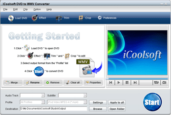 iCoolsoft DVD to WMV Converter Screenshot