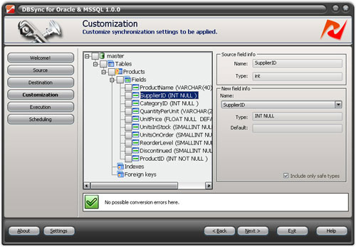 DBSync for Oracle and MS SQL Screenshot