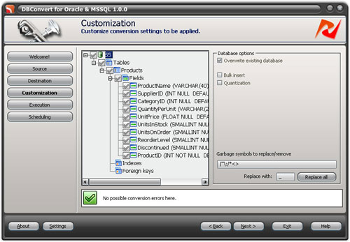 DBConvert for Oracle and MS SQL Screenshot