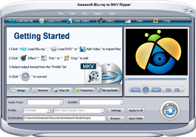 Aiseesoft Blu-ray to MKV Ripper Screenshot