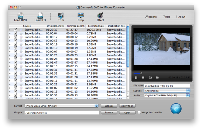 Daniusoft DVD to iPhone Converter Mac Screenshot