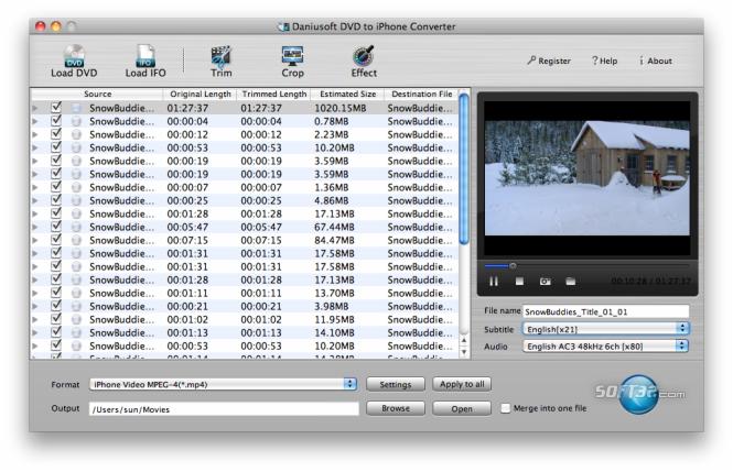 Daniusoft DVD to iPhone Converter Mac Screenshot 2