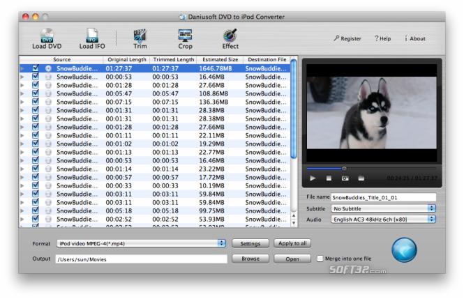 Daniusoft DVD to iPod Converter for Mac Screenshot 2