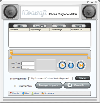 iCoolsoft iPhone Ringtone Maker Screenshot