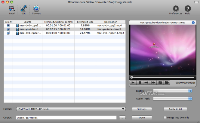Wondershare Video Converter Pro for Mac Screenshot