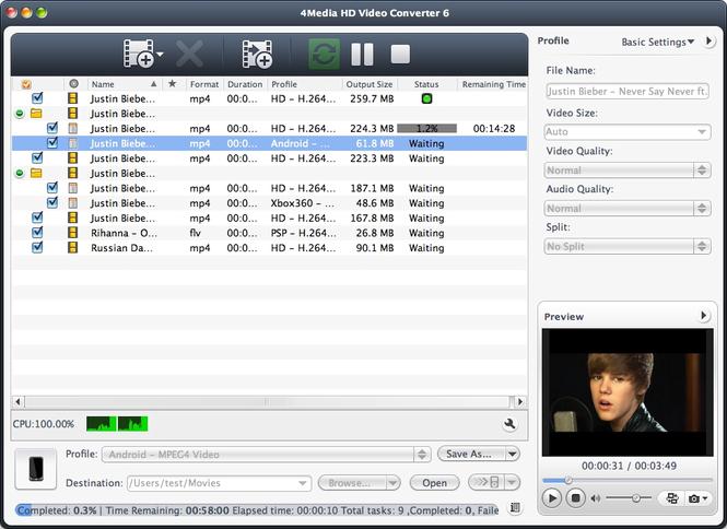 4Media HD Video Converter for Mac Screenshot 1