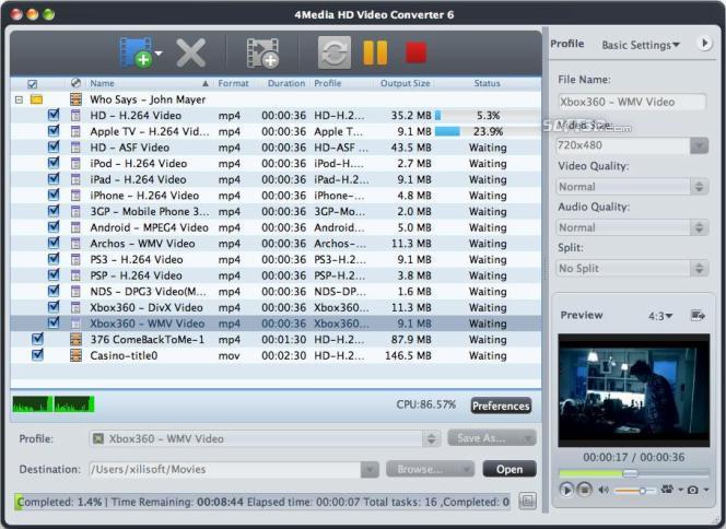 4Media HD Video Converter for Mac Screenshot 3