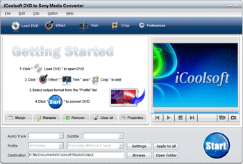 iCoolsoft DVD to Sony Media Converter Screenshot 1