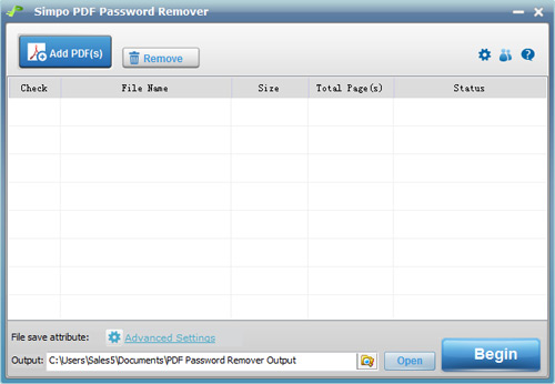 Simpo PDF Password Remover Screenshot 1
