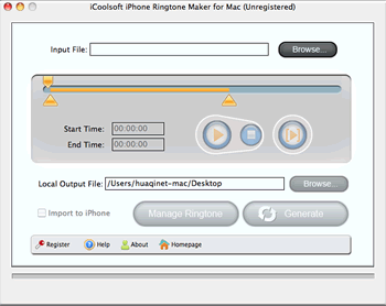 iCoolsoft iPhone Ringtone Maker for Mac Screenshot