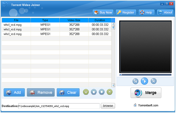 Torrent Mp4 Video Joiner Screenshot 1