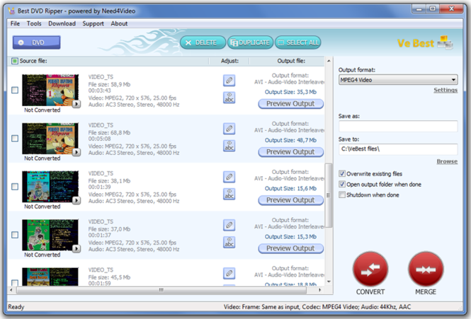 VeBest Best DVD Ripper Screenshot