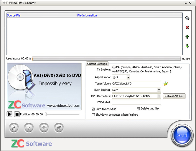 ZC DivX to DVD Creator Screenshot