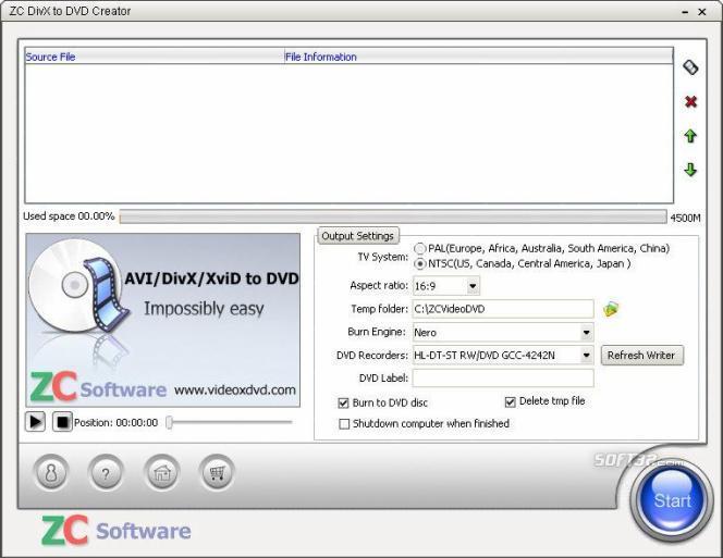ZC DivX to DVD Creator Screenshot 2