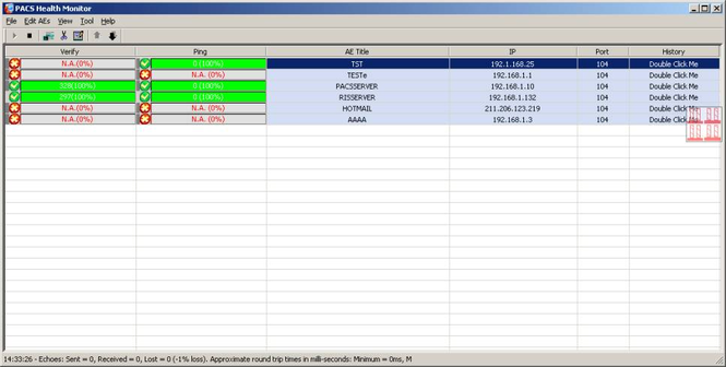 PACS Health Monitor Screenshot