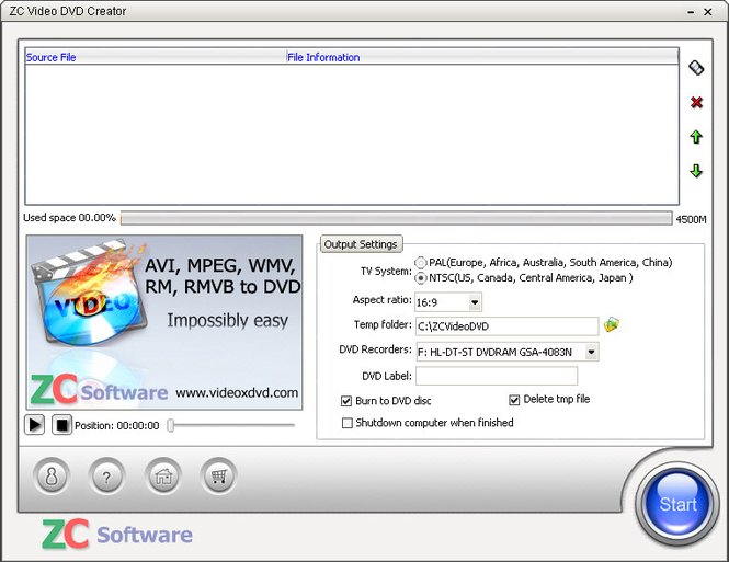 ZC Video DVD Creator Screenshot