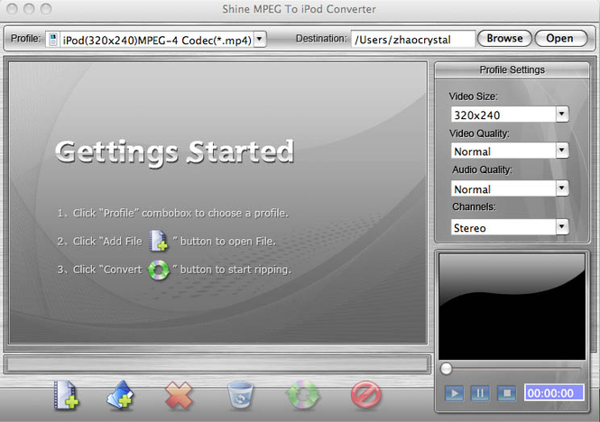 Shinesoft MPEG to iPod Converter for Mac Screenshot 1